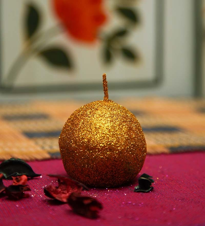 Golden Ball Shaped Sparkle Candle