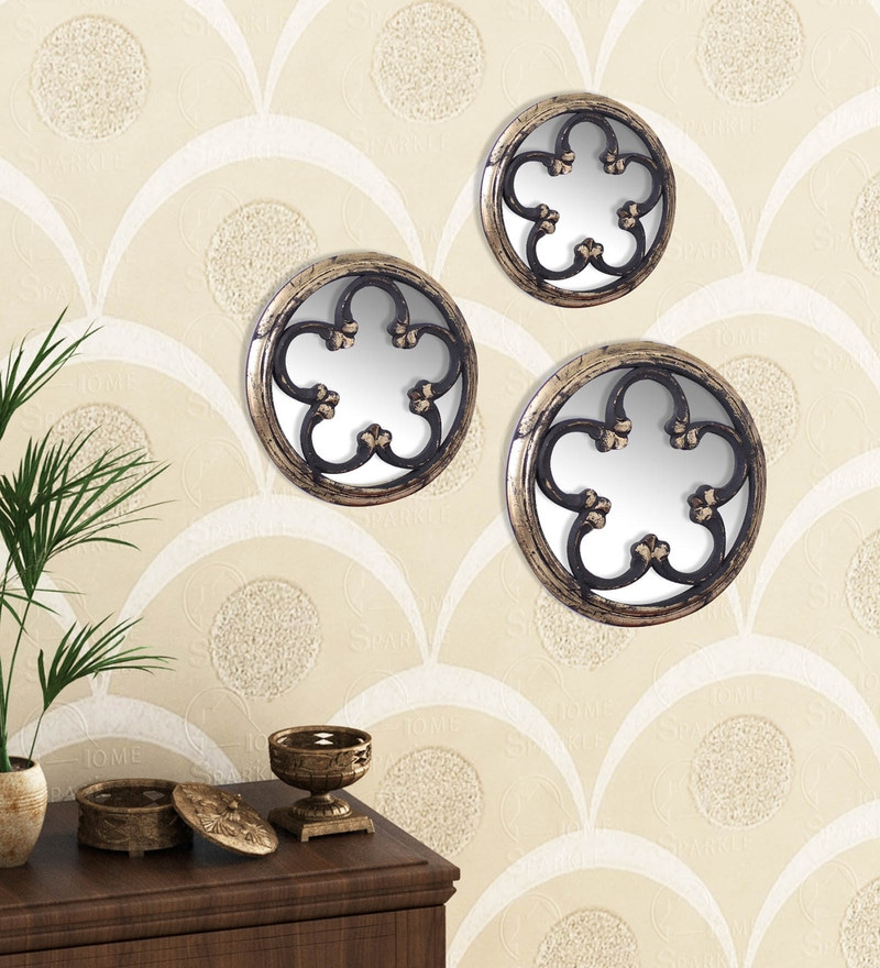 Golden Black Engineered Wood Wall Mirror - Set of 3 by Home Sparkle