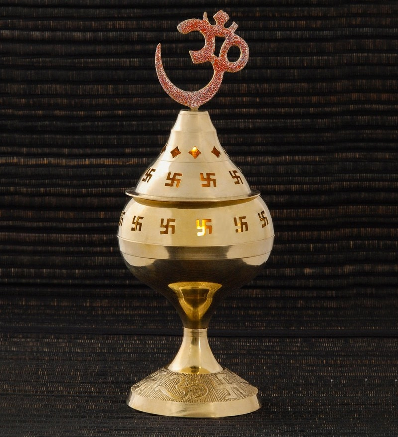 Golden Brass Medium Ohm Devi Jyot by Frestol