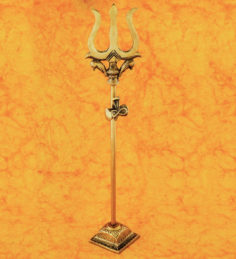 Golden Brass Trishul with Damru by Frestol