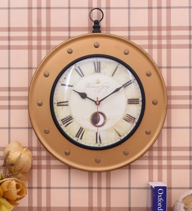 Golden Iron 12 x 2 x 14 Inch Wall Clock by Home Sparkle