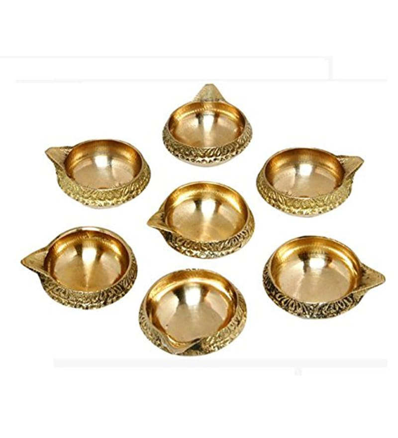 Golden Iron Diyas by GAC Trend - Set of 7