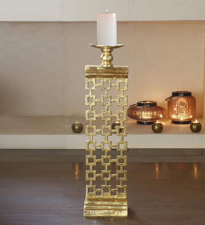 Golden Metal Decorative  Pillar Candle Stand Holder by Anasa