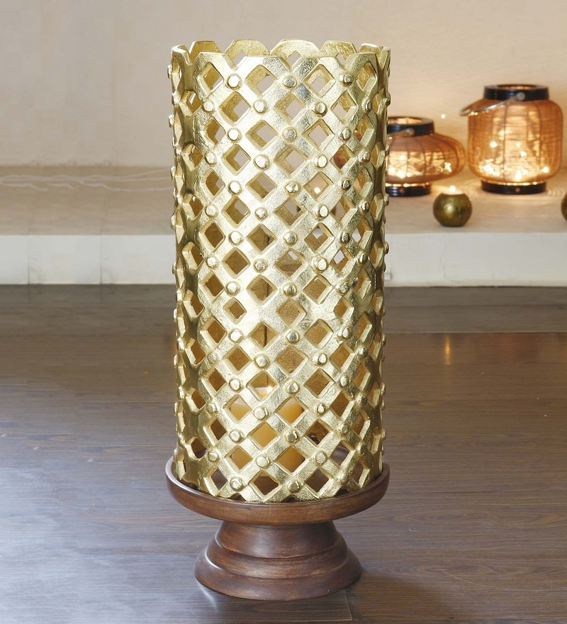 Golden Metal Decorative Hurricane Candle Stand Holder by Anasa