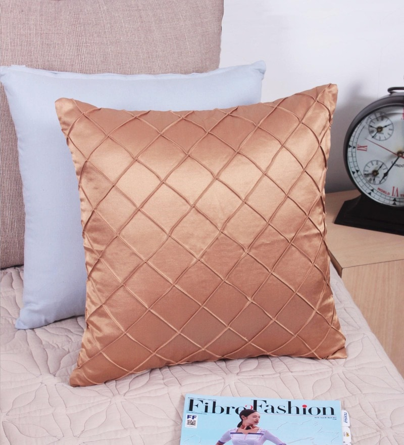 Golden Polyester 16 x 16 Inch Cushion Cover by Vista Home Fashion