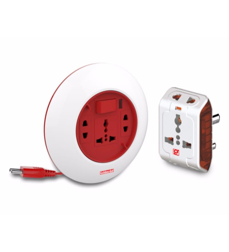 Goldmedal Spice 3 Pin Travel Adaptor and Goldmedal G-Dial 2 Pin 5m Extension Cord