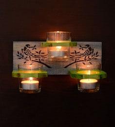Green & Blue Steam Beech Wood And Glass Parrot Hand Carved Wall Tea Light Holder - Set Of 4
