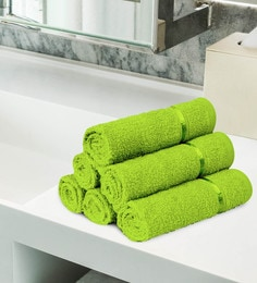 Green 100% Cotton Face Towels - Set Of 6
