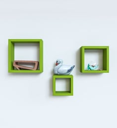 Green Engineered Wood Square Wall Shelves - Set Of 3 By Home Sparkle