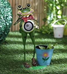 Green Girgit Solar Frog Planter at pepperfry