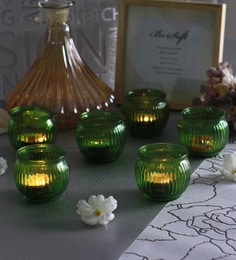 Green Glass Candle Cup Tea Light Holders  - Set Of 6
