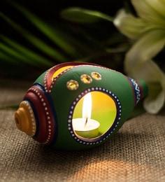 Green Terracotta Handpainted Shankh Shaped Table Tea Light Holder