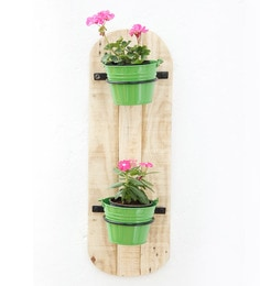 Green Wood & Metal Wall Pot Stand With Planter