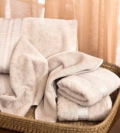 Grey 100% Cotton Bath, Hand & Face Towels - Set Of 6