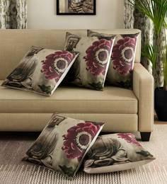 Grey Polyester Jute Fabric Budha Print Cushion Cover Colour Set Of 5 Cushion Covers