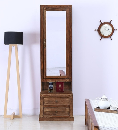 Buy Gracie Dressing Table With Hidden Mirror Storage In Honey Finish By Trendsbee Online Dressers Tables Furniture Pepperfry Product
