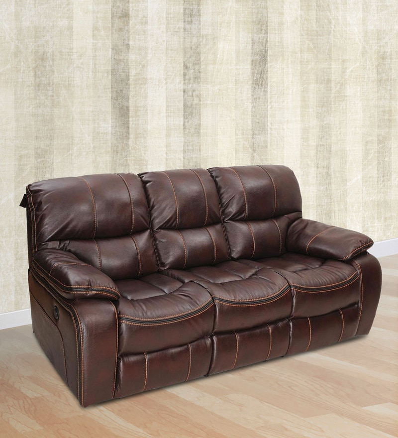 Grand Three Seater Recliner in Maroon Colour by Royal Oak