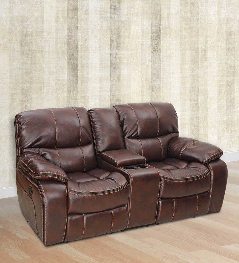 Grand Two Seater Motorized Recliner in Maroon Colour by Royal Oak