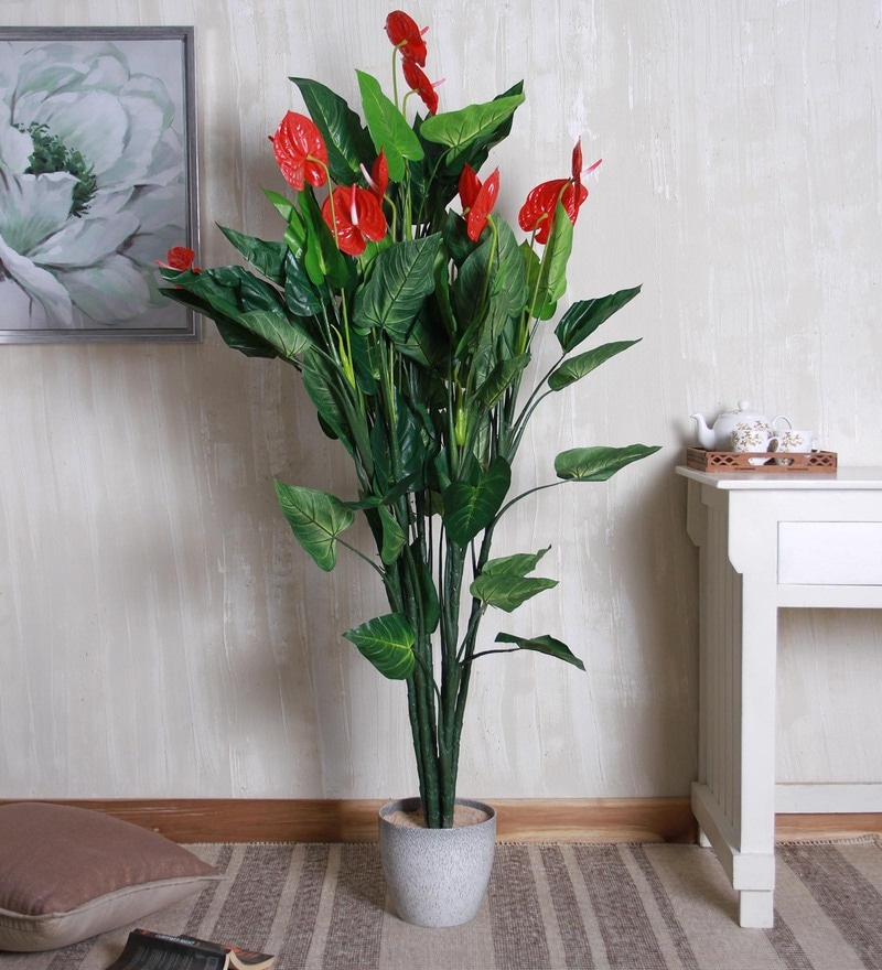 Green & Red Polyester Fabric Decorative Artificial Anthurium Plant by Fourwalls
