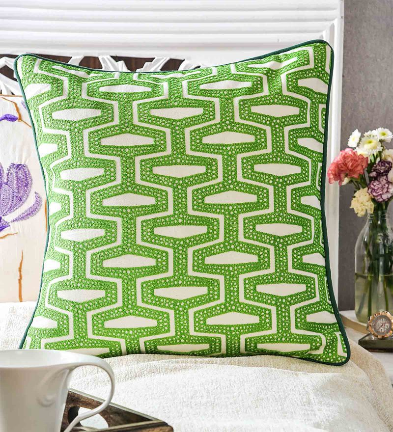Green & White Cotton 18 x 18 Inch Cushion Cover by Vista Home Fashion