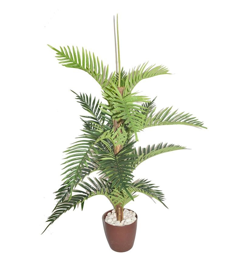 Buy Green Artificial Areca Palm Plant In 15 Leaves Without Pot By