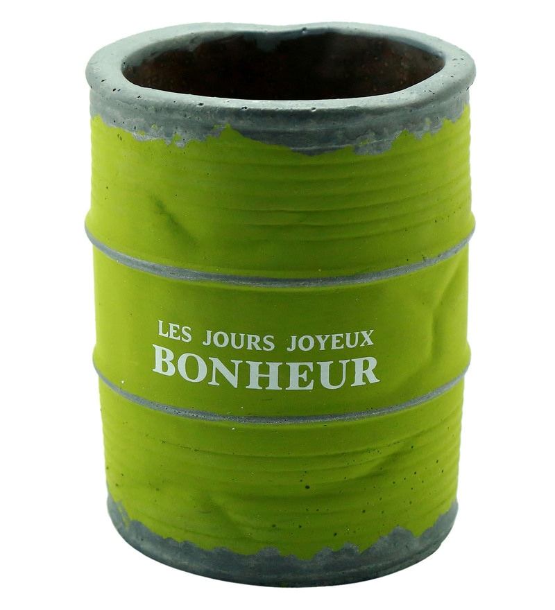 Green Ceramic Vintage French Barrel Planter by Importwala