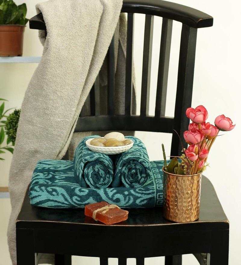 Green Cotton 28 x 58 Inch Towel - Set of 3 by Turkish Bath