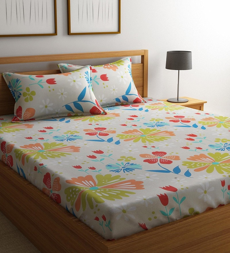 Green Cotton 88 x 95 Inch Exclusive Bedsheet - Set of 3 by Raymond Home