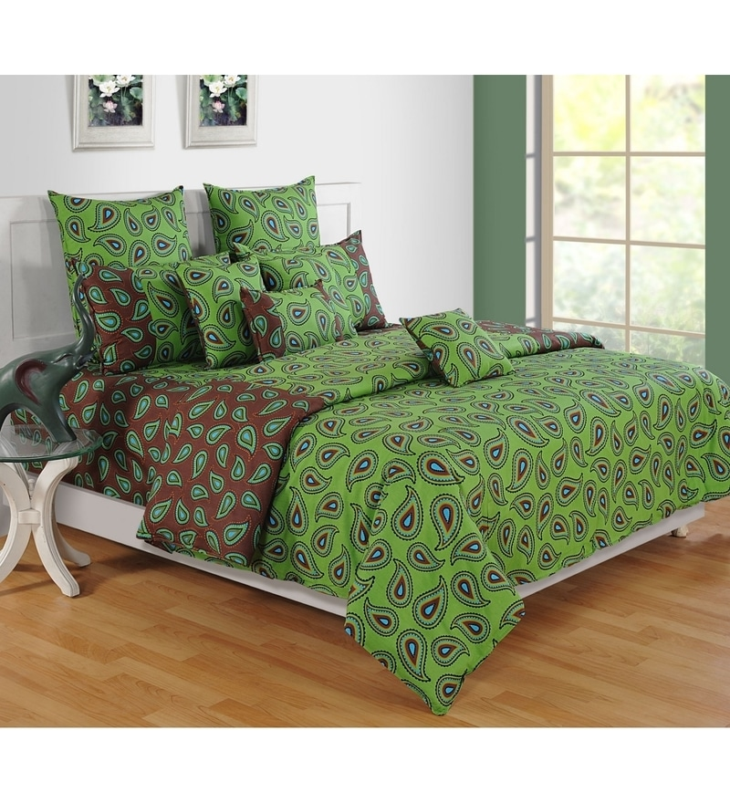 Green Cotton King Size Bedsheet - Set of 3 by Swayam
