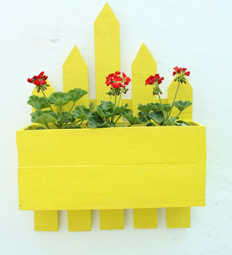Wood box Wall Planter-Yellow by Green Gardenia