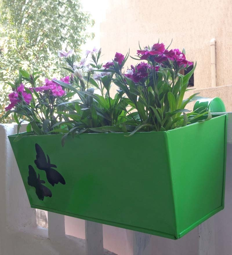 Railing Rectangular Green Metal Large Planter by Green Gardenia