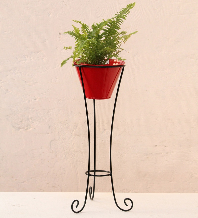 Red Metal and Iron Large Pot Stand with Pot by Green Gardenia