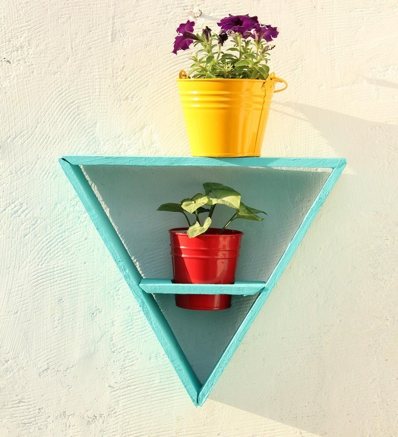 Wooden Triangle Wall Stand with 2 Metal Pots-Light Blue by Green Gardenia