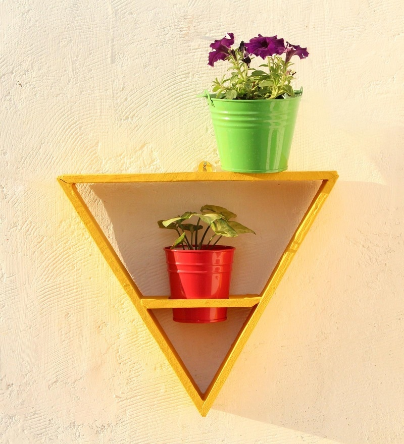 Wooden Triangle Wall Stand with 2 Metal Pots-Yellow by Green Gardenia