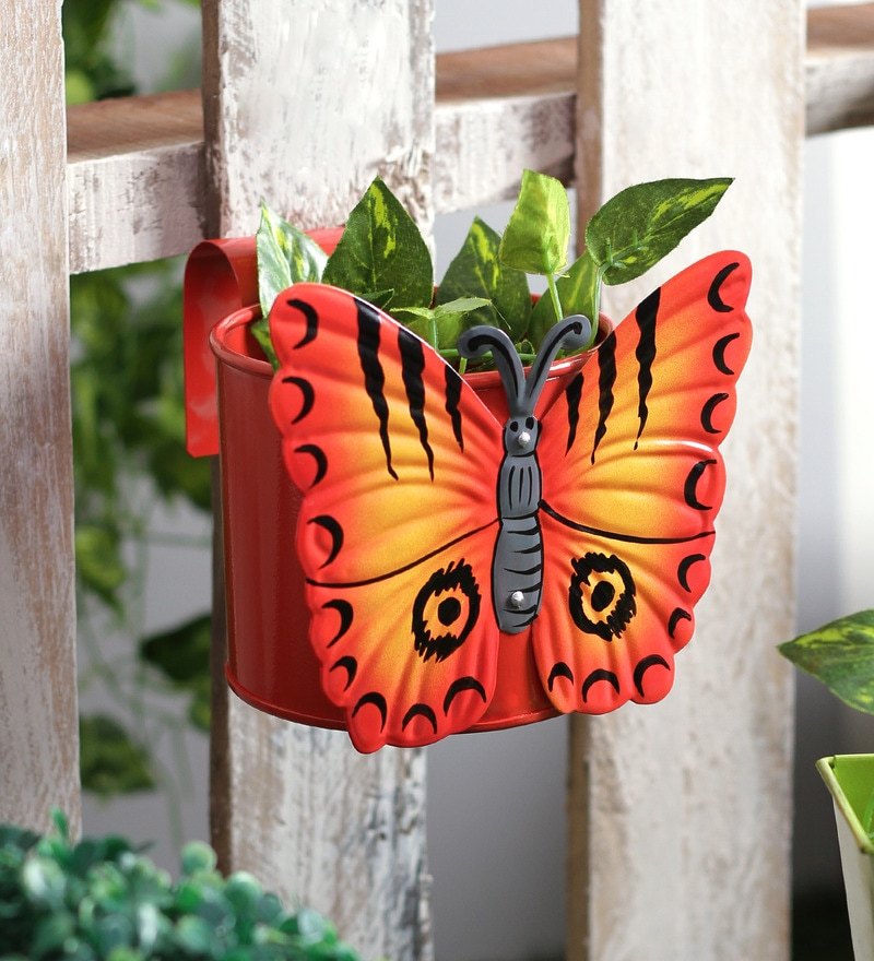 Butterfly Red Metal Pot Planter by Green Girgit