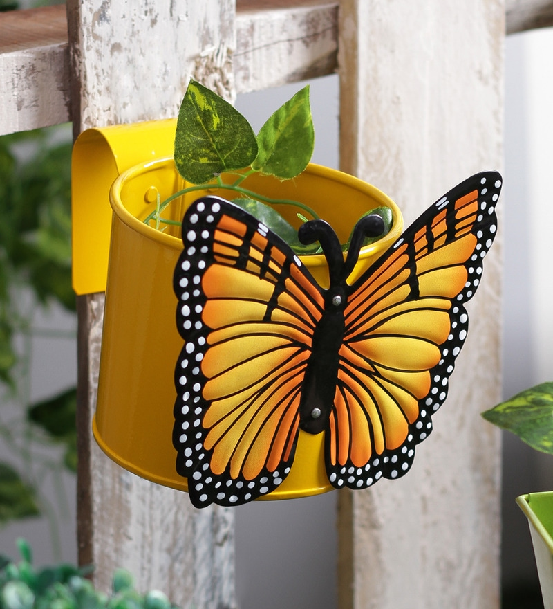 Butterfly Yellow Metal Pot Planter by Green Girgit