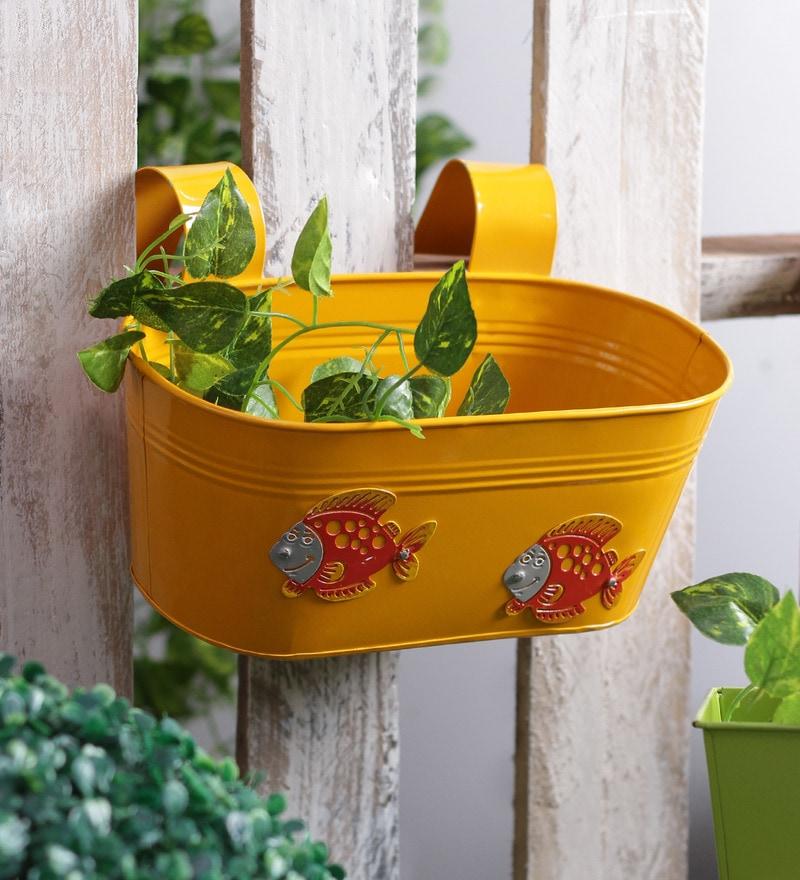 Fish Yellow Metal Tub Planter by Green Girgit