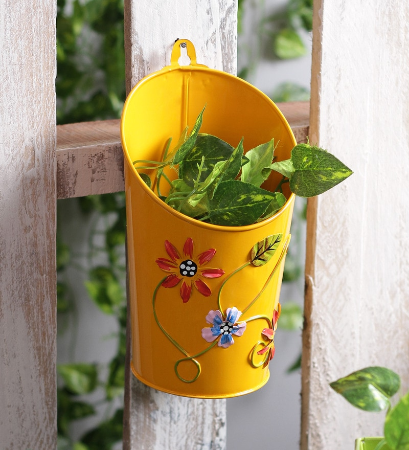 Half Moon Yellow Floral Printed Metal Pot Planter by Green Girgit