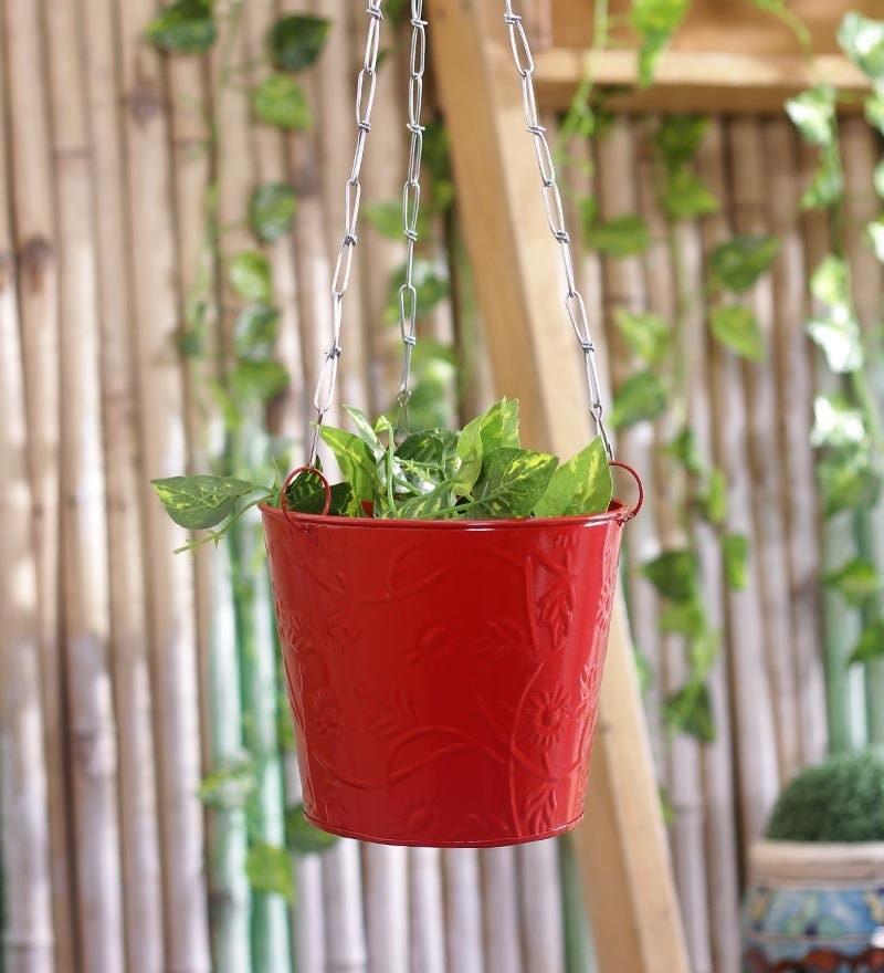 Red Hanging Bucket by Green Girgit