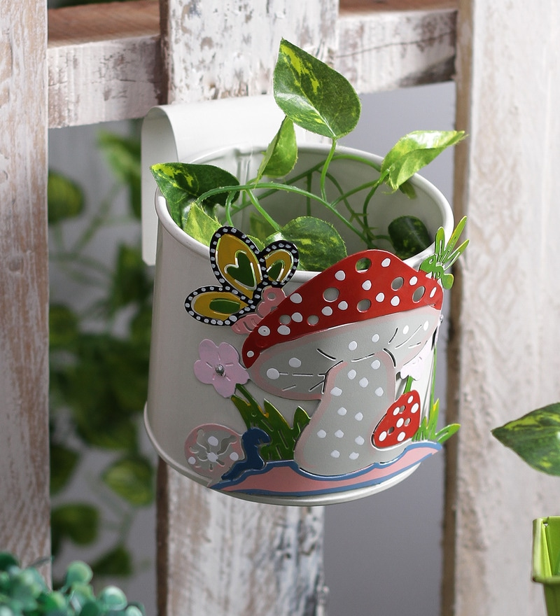 Mushroom White Metal Pot Planter by Green Girgit