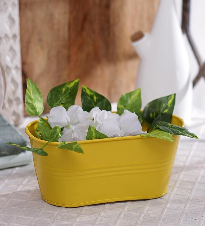 Yellow Oval Planter by Green Girgit