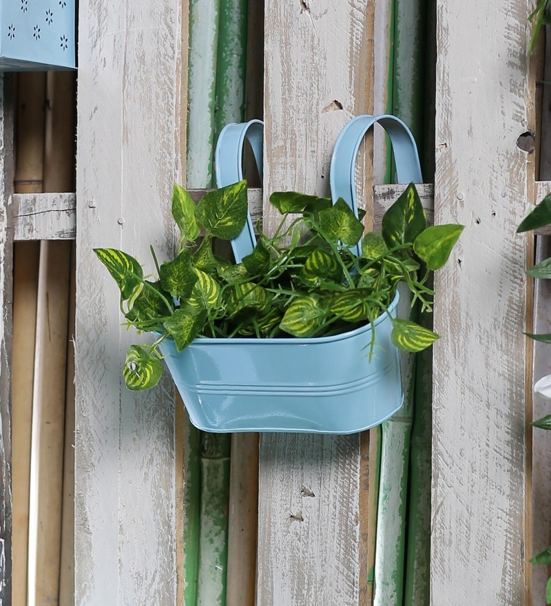 Blue Metal Oval Railing Planter by Green Girgit