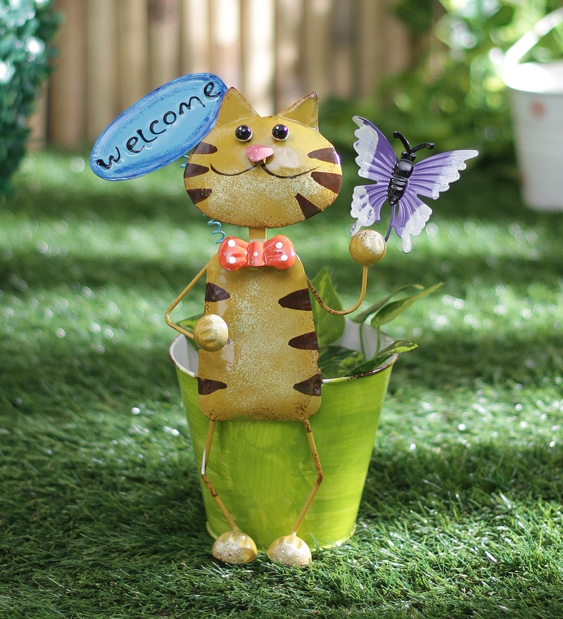 Small Cat Welcome Planter by Green Girgit
