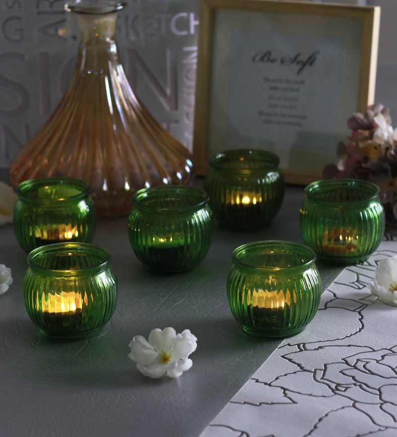 Green Glass Candle Cup Tea Light Holders  - Set of 6  by Go 2