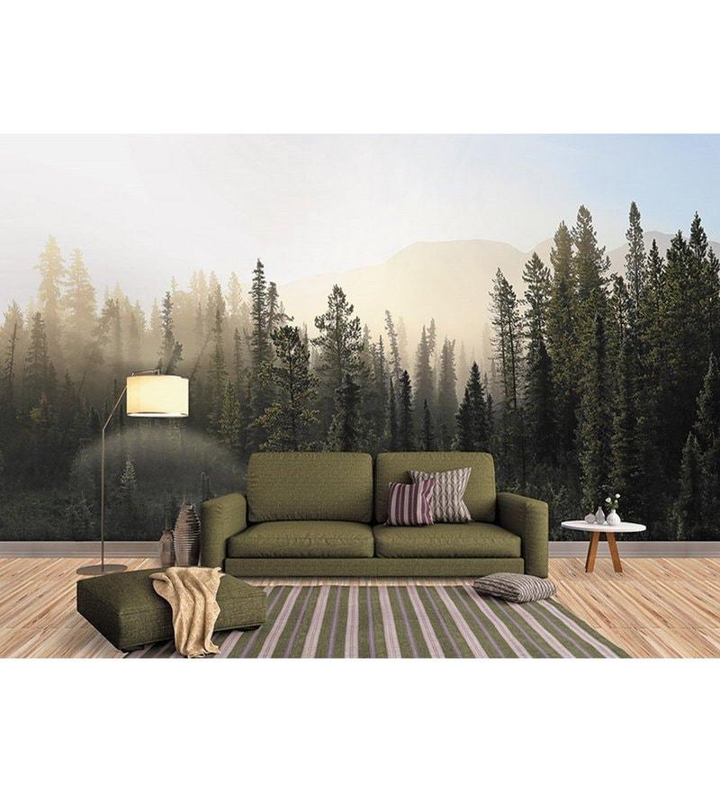 Green Non Woven Paper The Mountain Fog   Wallpaper by Wallskin