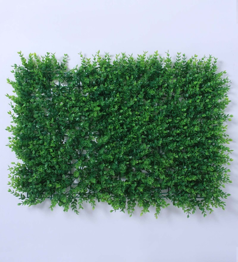 Green Plastic Decorative Square Artificial Eucalyptus Boxwood Mat by Fourwalls
