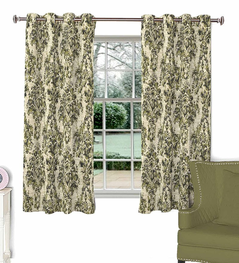 Green Poly Cotton Window Curtain by Skipper