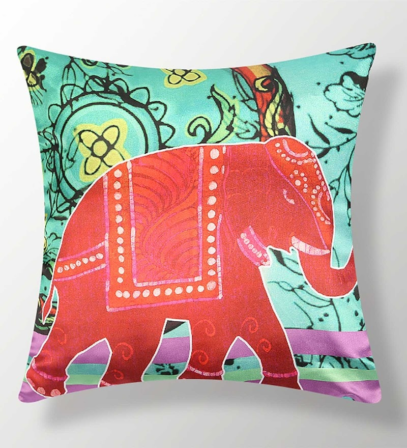 Green Polyester 16x16 Inch Cushion Cover by Dreamscape