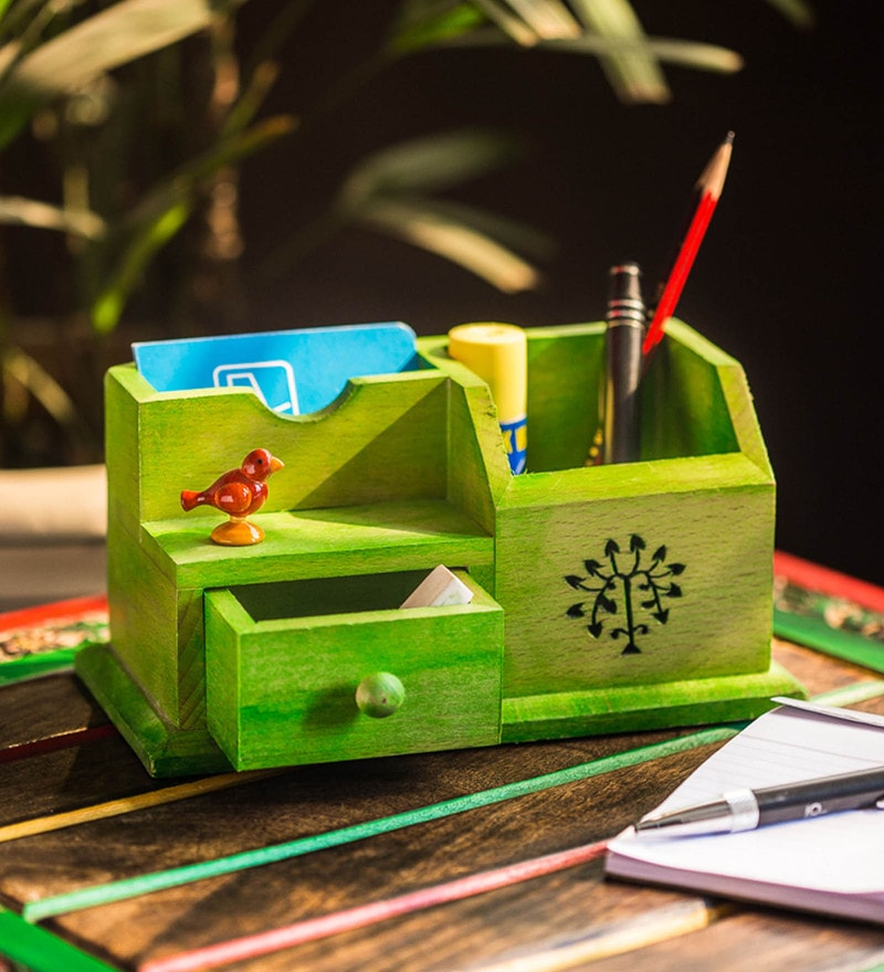 Green Steam Beech Wood Multipurpose Table Organiser With Tree Carving & Parrot by ExclusiveLane