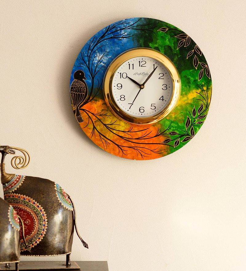 Buy Mudra Wooden Wall Clock With Guitar Design Online Indian